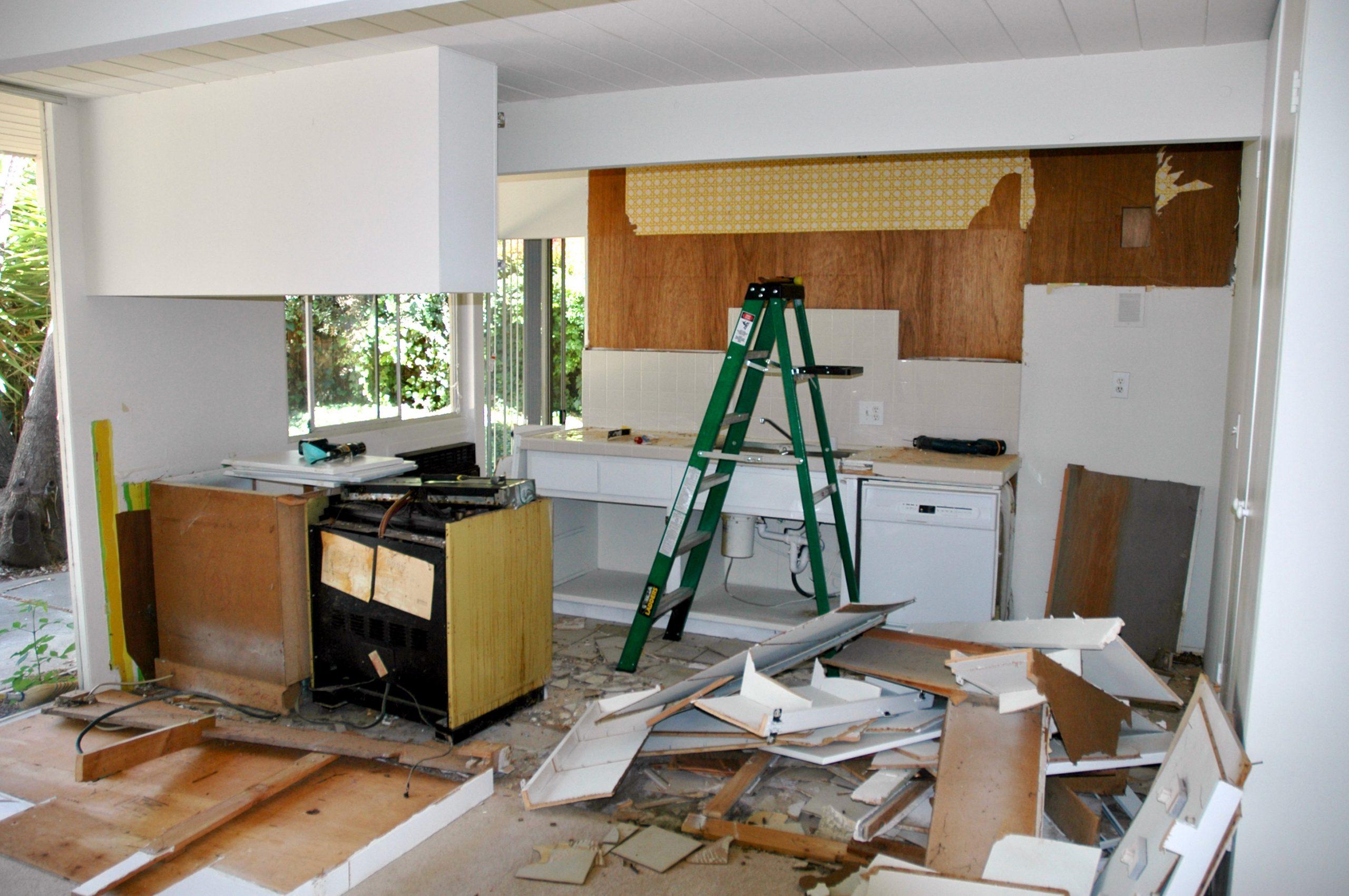 An Eichler kitchen under demolition